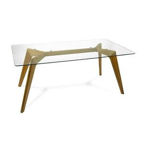 Table en verre 180 cm achat vente table en verre 180 for Table a manger bois et verre