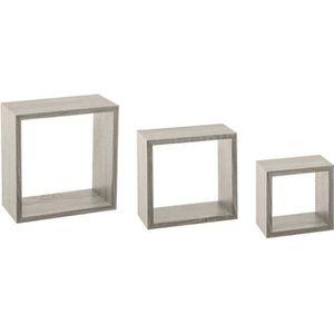 CASIER POUR MEUBLE Five - Lot de 3 étagères murales cubes chêne gris