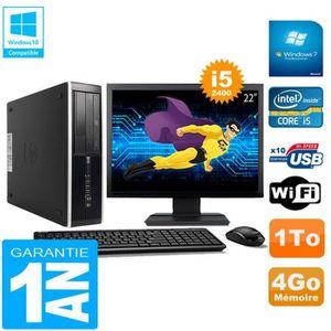 UNITÉ CENTRALE + ÉCRAN PC HP Compaq Pro 6300 SFF I5-2400 4Go 1To Graveur