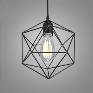 LUSTRE ET SUSPENSION  E27 Lustre Suspension Cage formr diamant en Fer M