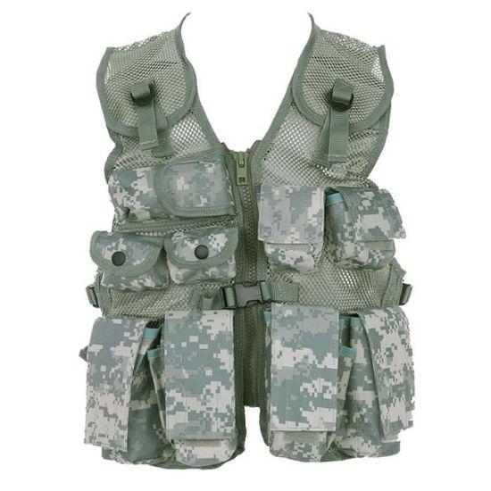 Alomejor Gilet Tactique pour Enfants Gilet de Camouflage pour Enfants avec Gilet de Combat Multi-Poches de larm/ée pour Le Jeu de Chasse en Plein air de Combat