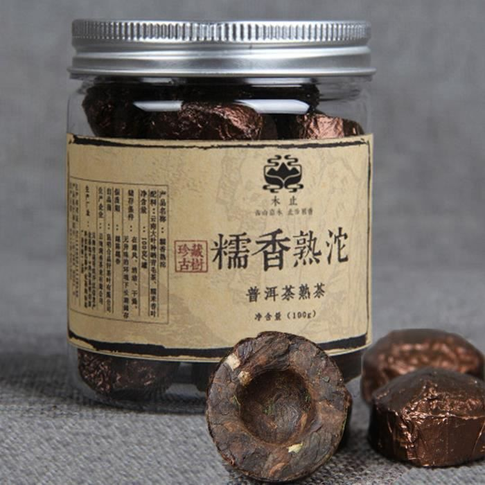Yunnan Puerh tea puer Tuocha Small canned Glutinous rice Pu er cooked tea 100g (0.22LB) Health care tea Pu'er tea Black tea Puer t