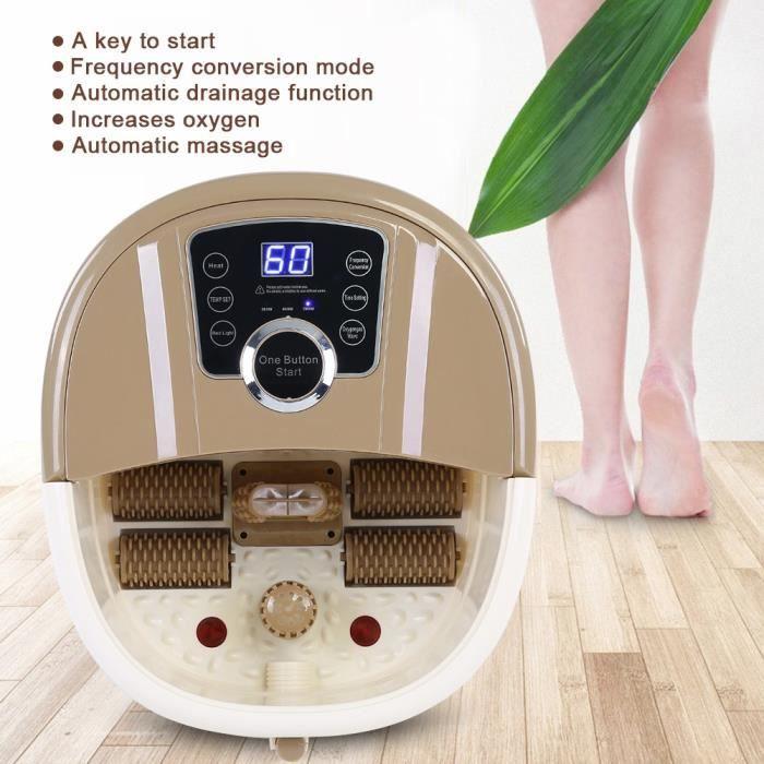 500W Appareil de massage baignoire pour les pieds Portable Pied Spa Bain De Chaleur Soaker Vibration Pédicure Soak Tub - Marron