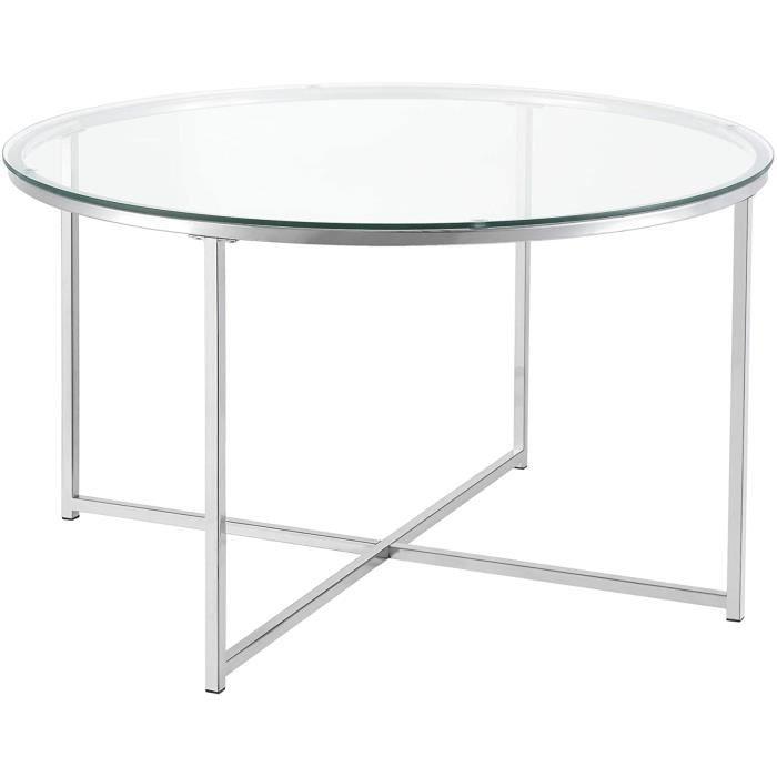 Table Basse pour Salon Table Ronde Design Plateau en Verre Pieds Croisés en Acier 80 x 48 cm Argenté[127]