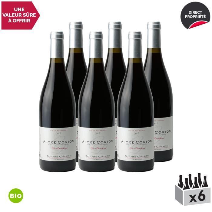 Aloxe-Corton -Les Boutières- Rouge 2017 - Bio - Lot de 6x75cl - Domaine Perrin Céline - Vin AOC Rouge de Bourgogne - Cépage Pinot