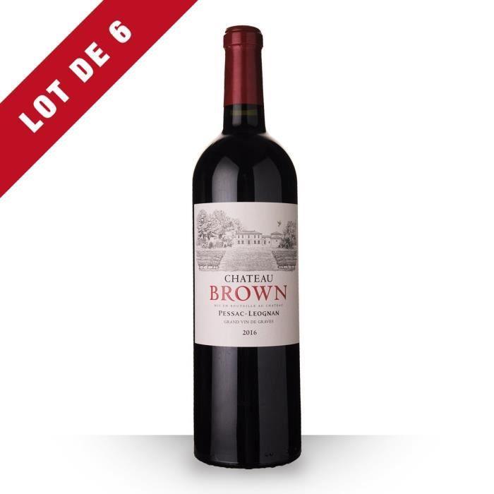 6x Château Brown 2016 AOC Pessac-Léognan - 6x75cl - Vin Rouge