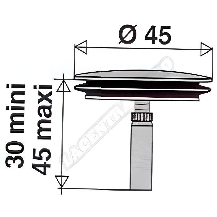 Clapet inox diamètre 45mm pour vidage de baignoire