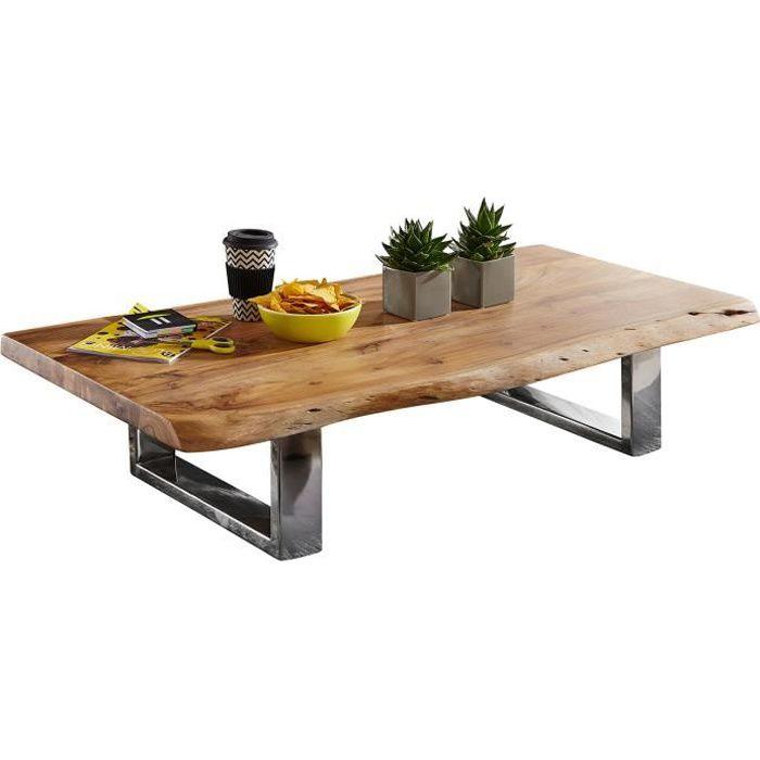 Table basse design marron rustique en acier L. 115 x P. 58 x H. 25 cm collection Princeville Marron