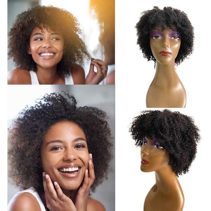 Perruque Bresilienne Bouclée afro Femme Perruque Tissage Bresilien Naturel Cheveux Humain Curly Naturelle Courte Perruques pour les