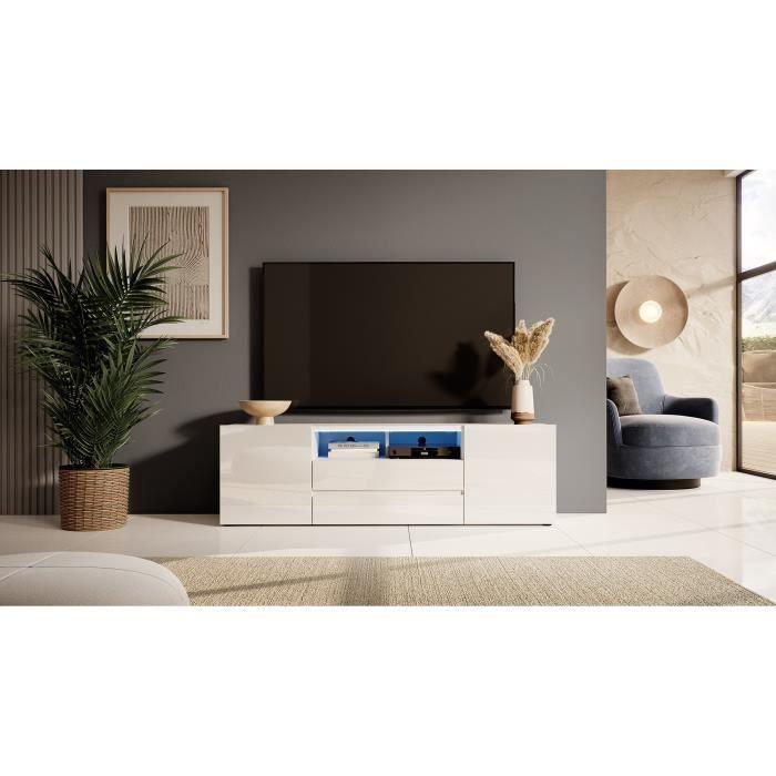 Meuble TV / Meuble de salon - BROS - 140 cm - blanc mat / blanc brillant - avec LED - 2 niches ouvertes - 4 compartiments fermés