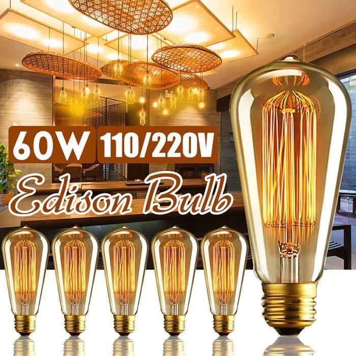 6PCS 60W E27 Edison ampoule à filament de tungstène 220V @SHE