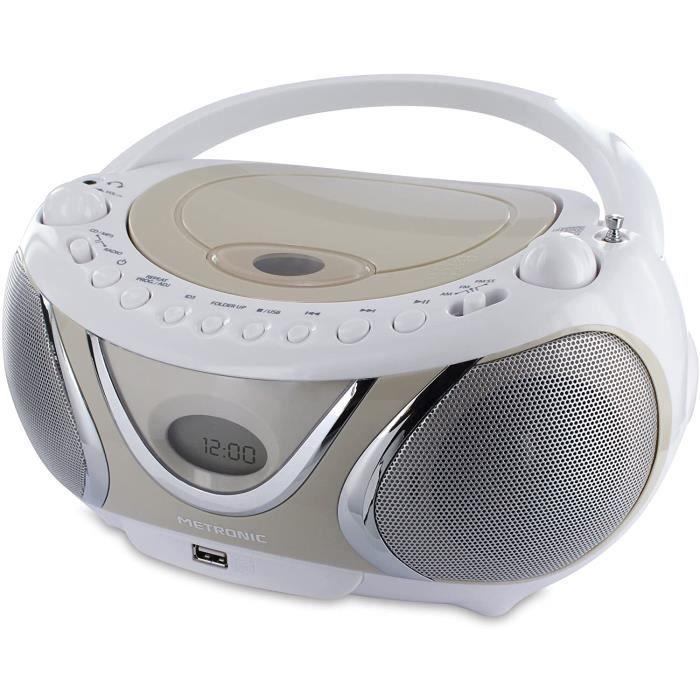 LECTEUR DVD PORTABLE Metronic 477116 Radio - Lecteur CD - MP3 Portable Casual avec Port USB - Beige et Blanc164