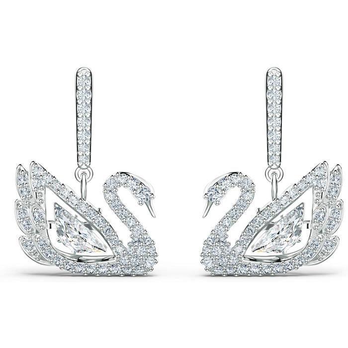 BOUCLE D OREILLE Swarovski Boucles d'oreilles Dancing Swan, blanc, m&eacutetal rhodi&eacute605
