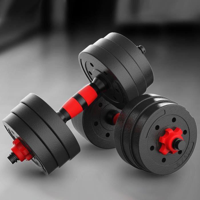 QIAN Lot de 2 Kit Haltères Reglable 20 kg - 2 en 1 Ensemble d'haltères - Barre D'extension Rouge/Noir