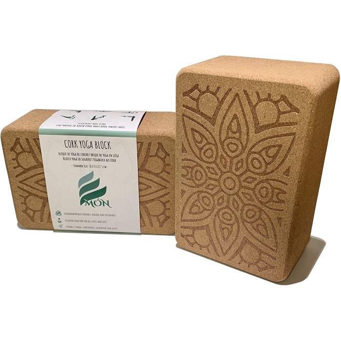Brique de Yoga en liège 100% Naturel (Ensemble de 2 unités) Bloc de Yoga Set de Deux pièces Briques Blocs Accessoires Aussi p