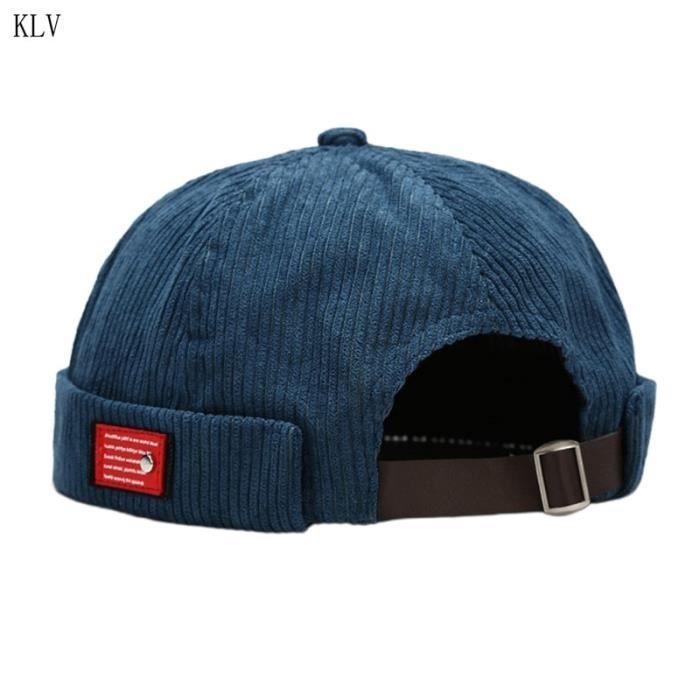 Unisexe lettres étiquette velours bonnet Docker casquette Harajuku Hip Hop rétro roulé manchette san DB