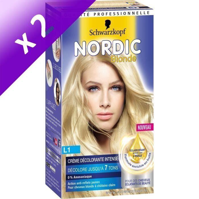 SCHWARZKOPF Coloration Permanente Nordic Crème Décolorante intense L1 - Blonde (Lot de 2)