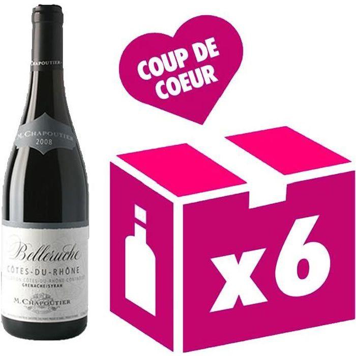 Côtes du Rhône Belleruche vin rouge 6x75cl Chapoutier millésime 2018