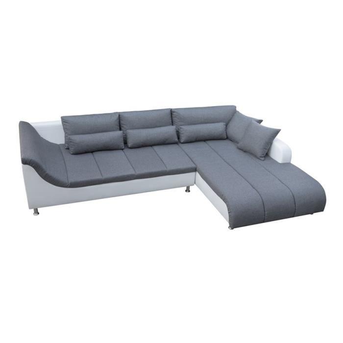 Canapé d'angle BIAGIO - Angle droit - Gris et blanc
