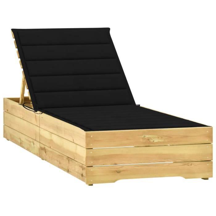 Chaise longue avec coussin noir Bois de pin imprégnéXNA-3065916