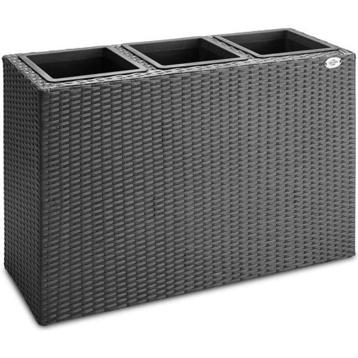 Deuba - Bac à Fleurs • polyrotin Noir • 3 Compartiments • 83x30,5x60 cm - Pot Fleurs, bac Vertical, brise-vue, séparation