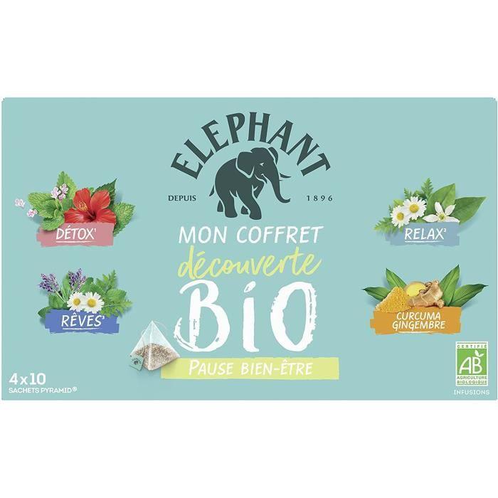 ELEPHANT Coffret Découverte Infusions Bio Bien Être - 40 sachets