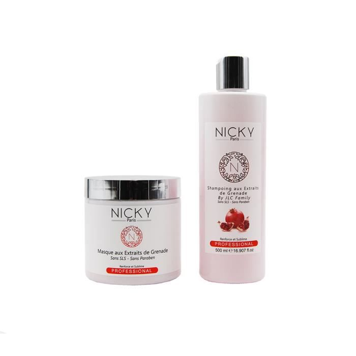 NICKY PARIS - Gamme Grenade - Shampooing 500mL + Masque 500mL Aux Extraits De Grenade By JLC Family