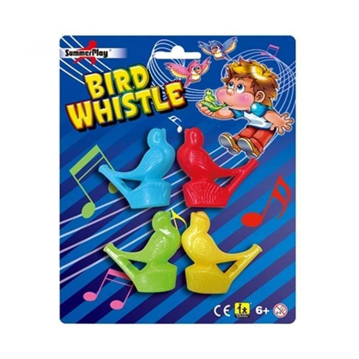 Lot de 4 oiseaux siffleur, oiseau en plastique, jouet enfant kermesse, sifflet rossignol