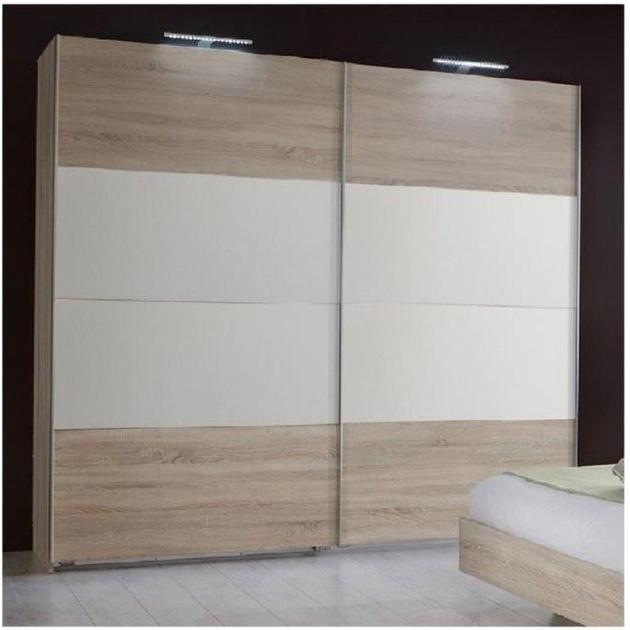 Armoire EVA portes coulissantes largeur 225 cm chêne clair / blanc natural Bois Inside75