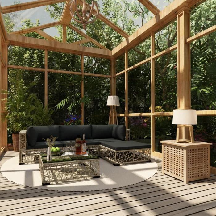 Salon de Jardin Mobilier de Jardin 5 pcs avec Coussins Meuble d'Extérieur Mobilier de Terrasse Mobilier de Patio Résine Tressée Gris