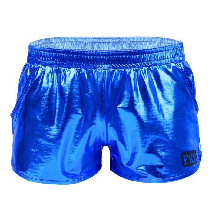 Short de Sport Danse Homme Brillant Jazz Boxer Short Danse Slips Sous-Vêtements Lingerie Plage Caleçon Legging Court M-XL Bleu