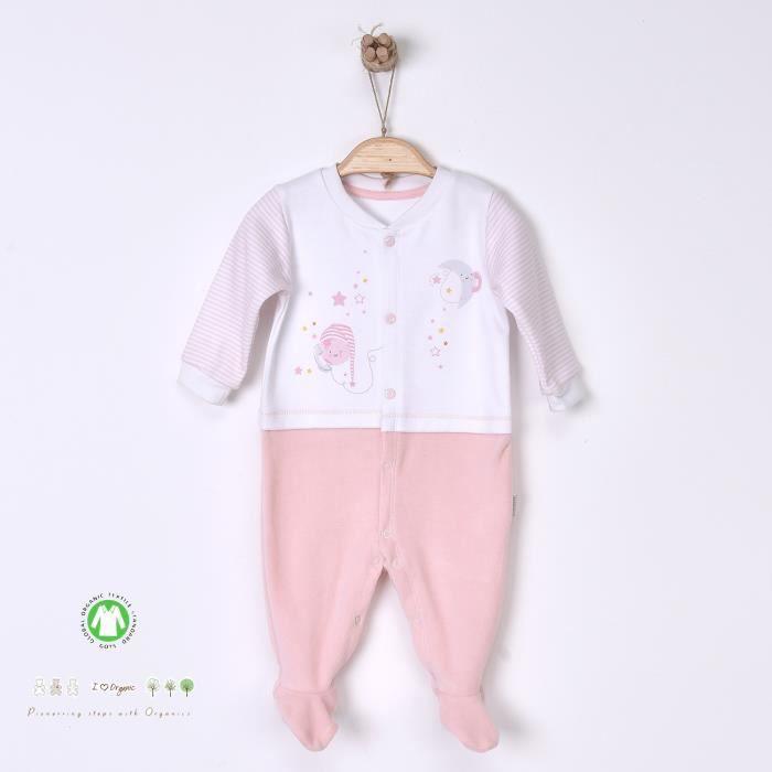 Pyjama dors-bien en coton biologique et velours -Dreams Rose 3-6M - 62CM