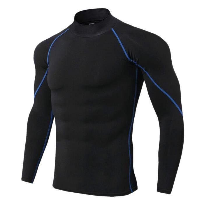Maillot Compression À Manches Longues Pour Homme Tee Shirt De Sport Séchage Rapide Baselayer Haut Bleu 3XL