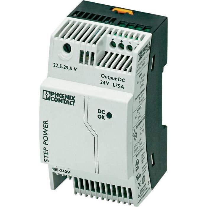 Bloc d'alimentation à découpage pour rails DIN 24 V/DC / 1,75 A / 42 W Phoenix Contact STEP-PS/1AC/24DC/1.75