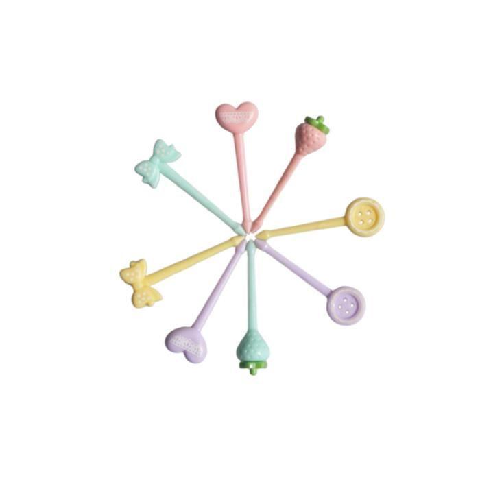 8 pièces Mini fourchette à fruits boîte à lunch en plastique bâton décoratif cueillette de cuisine PICS APERITIF NON JETABLE