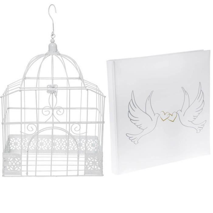 1 Pack urne cage et livre d'or mariage Colombes R/5314-4490