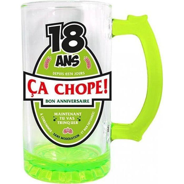 CBC01V - 1 Chope à bière anniversaire 18ans vert 50cl pour cadeau