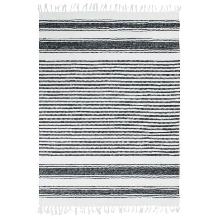 Tapis Terra - 120 x 170 cm - Lignes noir, gris et blanc