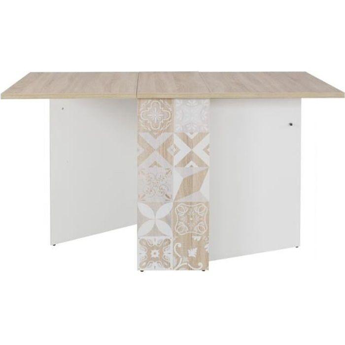 Table de repas pliante Bois clair/Blanc - ETHAN - L 140 x l 80 x H 75