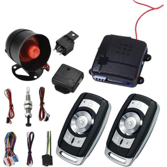 1 ensemble de système d'alarme de voiture télécommande 12V de sécurité intelligent antivol pour véhicule KIT ALARME - PACK ALARME