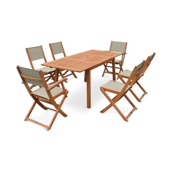 Salon de jardin en bois Almeria, table 120-180cm ...