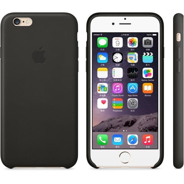 coque antichoc en cuir pour iphone 6 6s noir