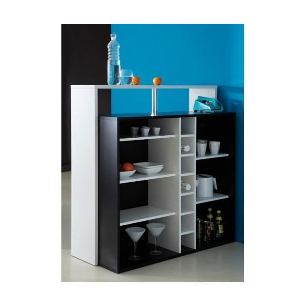 Meuble bar 7 niches piano noir blanc achat vente for Meuble bar noir