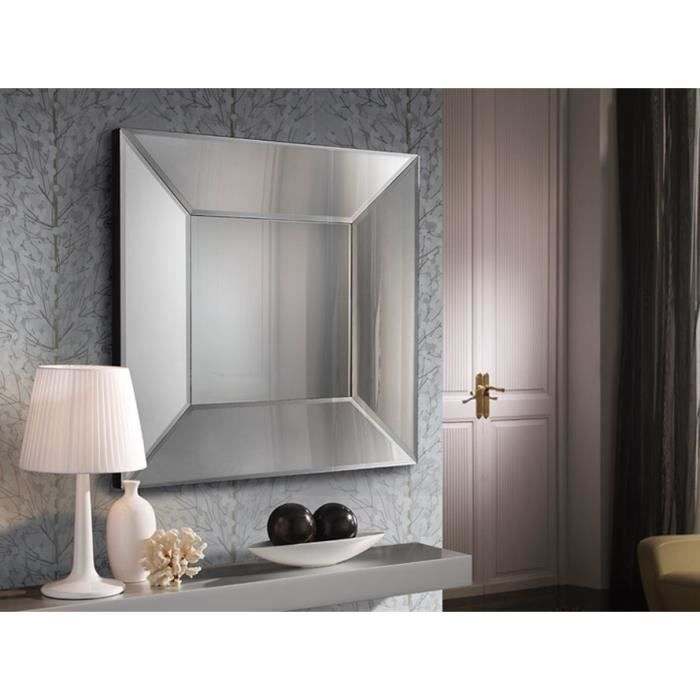 miroir en verre moderne mod le milan carr achat vente miroir bois mdf verre cdiscount. Black Bedroom Furniture Sets. Home Design Ideas