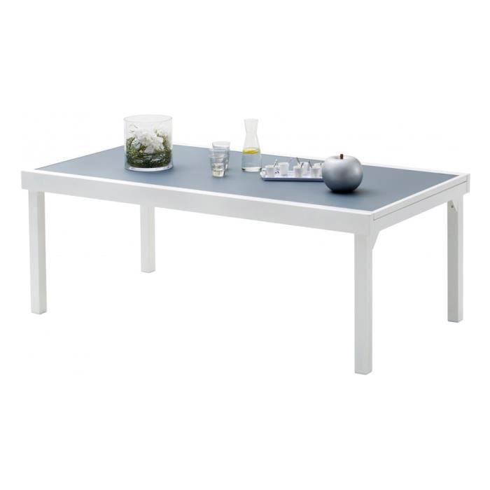 table de jardin rectangulaire extensible aluminium blanc et verre tremp gris l200 achat. Black Bedroom Furniture Sets. Home Design Ideas