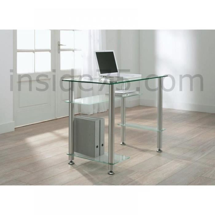 bureau design en verre transparent little desk achat. Black Bedroom Furniture Sets. Home Design Ideas