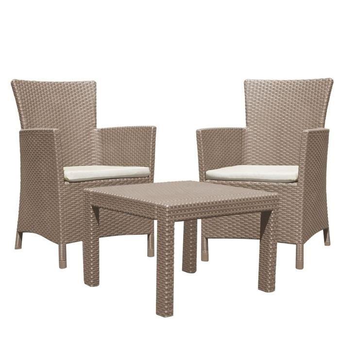 3tlg Salon Rotin Synthétique Ensemble De Jardin Ensemble De Sièges en Noir Table avec 2 chaises