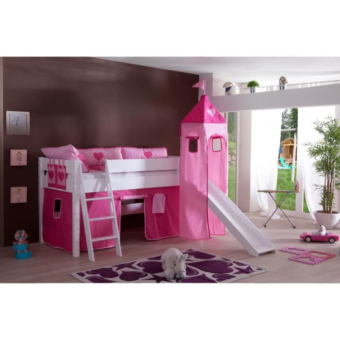 lit sur lev avec toboggan 90x200 coloris rose achat. Black Bedroom Furniture Sets. Home Design Ideas