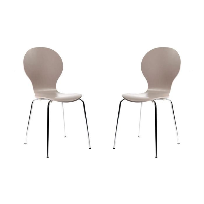 2 chaises design empilables taupes new abigail achat - Chaises empilables design ...