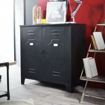 bahut buffet en m tal style industriel 90 salon achat. Black Bedroom Furniture Sets. Home Design Ideas